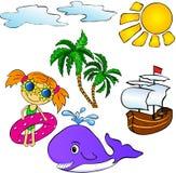 夏天热带集合 免版税库存图片
