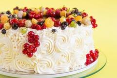 夏天玫瑰华饰蛋糕用果子 库存图片