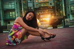 夏天礼服的亚裔妇女 库存图片