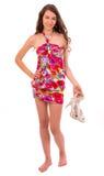 夏天礼服的愉快的妇女a 免版税图库摄影