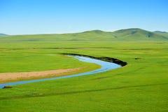夏天绿色草原和蓝色河 免版税库存图片