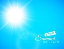 夏天背景,与透镜火光的夏天太阳 库存例证