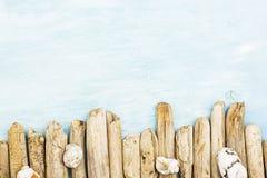 夏天背景,漂流木头海洋项目,海在与拷贝空间的土耳其玉色木头反对 库存图片