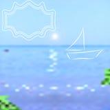 夏天背景 明亮的海和天空与一条被绘的小船 库存照片