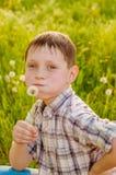 夏天自然的男孩用蒲公英 库存照片