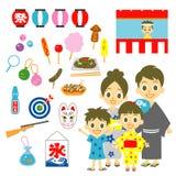 夏天节日在日本,家庭 库存照片