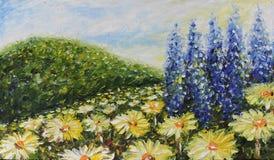 夏天花,雏菊的大领域 免版税库存图片