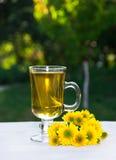 夏天茶在一个晴朗的庭院里 概念季节性分隔的白色 免版税库存图片
