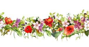 夏天草甸花和蝴蝶 重复框架 水彩 免版税图库摄影