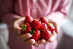 夏天草莓在手上 库存照片