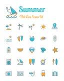 夏天象被设置的平的线型 免版税库存照片