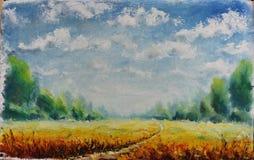 夏天路通过领域,云彩,绿色树,油画 免版税库存图片