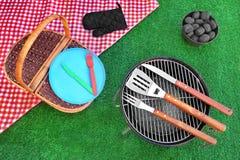 夏天野餐概念顶视图 库存图片