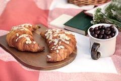 夏天野餐 一块玻璃用樱桃,在一个木板,白花,书花束的两个新月形面包  免版税库存照片
