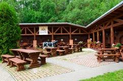 夏天金黄狮子的,维帖布斯克,白俄罗斯咖啡馆围场 库存照片
