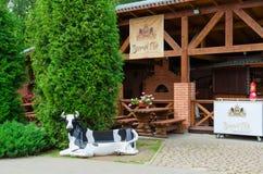 夏天金黄狮子的,维帖布斯克,白俄罗斯咖啡馆围场 库存图片