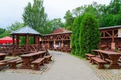 夏天金黄狮子的,维帖布斯克,白俄罗斯咖啡馆围场 免版税库存图片