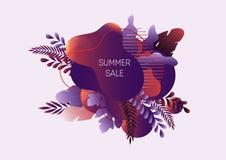 夏天销售与抽象液体形状、热带在白色隔绝的叶子和文本的网横幅 向量例证