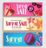 夏天销售传染媒介横幅设置了有五颜六色的样式背景 免版税库存图片