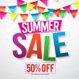 夏天销售传染媒介与五颜六色飘带垂悬的横幅设计 库存例证