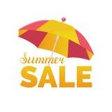 夏天销售传染媒介背景 季节折扣例证 与阳伞的特价优待横幅 免版税库存照片