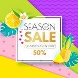 夏天销售布局设计模板 纸艺术 季节与方形的横幅,柑橘,心脏,菠萝的提议横幅 库存照片