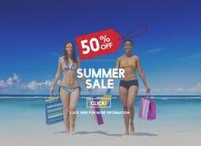 夏天销售广告折扣促进概念 库存照片