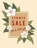 夏天销售折扣促进与拷贝空间,花,在背景的叶子的横幅模板 向量例证