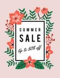夏天销售折扣促进横幅 向量例证