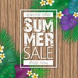 夏天销售横幅、海报模板与棕榈叶,密林叶子和花在木背景 皇族释放例证