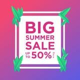 夏天销售横幅或背景五颜六色设计的模板 能为海报,横幅,在网站,社会媒介上的促进使用 向量例证