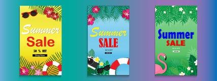 夏天销售横幅的背景布局 库存照片