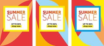 夏天销售横幅设计模板的末端 向量例证