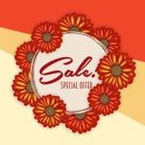 夏天销售横幅,与现实3d的海报模板开花 花卉五颜六色的抽象背景 免版税库存照片