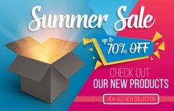 夏天销售横幅 有光的传染媒介开放箱子 皇族释放例证