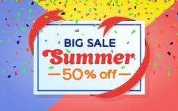 夏天销售背景横幅 色的背景和五彩纸屑 销售和折扣横幅设计 与丝带的框架 模板为 库存照片