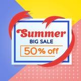 夏天销售背景横幅 销售和折扣横幅设计 与丝带的框架 做广告和海报的模板 传染媒介il 免版税库存图片