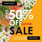 夏天销售花卉横幅 与桃红色羽毛花的季节性折扣广告 热带天堂春天 向量例证