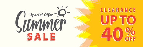 夏天销售集合V 5 40%横幅或岗位的标题设计 库存例证