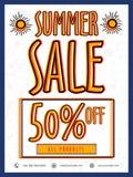 夏天销售飞行物、海报或者横幅设计 免版税图库摄影