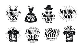 夏天销售,标号组 时尚、精品店、服装店、购物的象或者商标 手写的字法,书法 向量例证