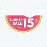 夏天销售15%  与watermelo的传染媒介三角背景 免版税库存照片