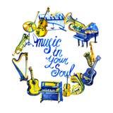 夏天音乐会爵士乐和蓝色音乐节 水彩框架 海报背景模板 库存例证