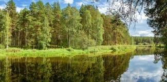 夏天风景在乌拉尔,鄂毕河,俄罗斯 库存图片