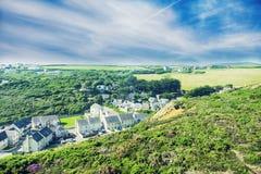 夏天风景在康沃尔郡,英国 免版税库存照片