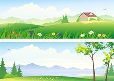 夏天风景横幅 免版税图库摄影