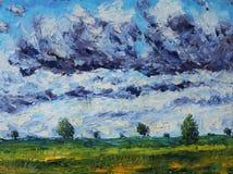 夏天风景,草,植被,在领域的树,云彩 库存照片