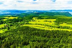 夏天风景绿色森林和山 免版税图库摄影