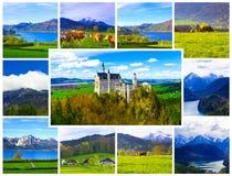 夏天风景-著名旅游胜地的看法在巴法力亚阿尔卑斯- 19世纪新天鹅堡城堡 库存照片