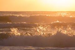 夏天飞溅波浪的海海浪与阳光 库存照片
